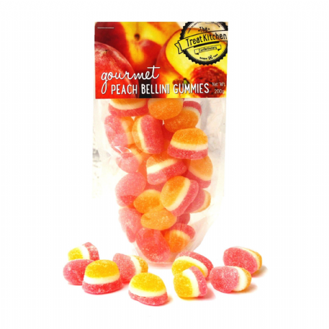 Peach Bellini Gummies Jelly Sweets Pouch - Gourmet Range The Treat Kitchen Confectionery 200g